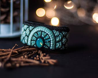 Lavi | Bead embroidered cuff bracelet