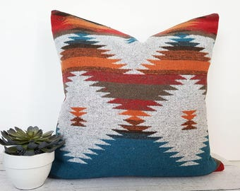 Teal Southwestern Pillow Covers, Native American Pillows, Navajo Pillows, Turquoise Blue Orange Red, Rustic Fall Decor, 18x18, 20x20, NEW