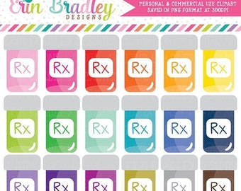 80% OFF SALE Pill Bottle Clipart Graphics Pharmacy Medication or Doctor Clip Art Graphics Personal & Commercial Use