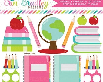 80% OFF SALE School Supplies Clipart Digital Graphics Set Books Globe Notebooks Pencils Apples Teachers Clip Art Graphics Instant Download