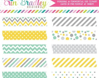 80% OFF SALE Digital Washi Tape Clipart Graphics Instant Download Commercial Use Clip Art in Yellow Aqua & Gray Polka Dotted Chevron Striped