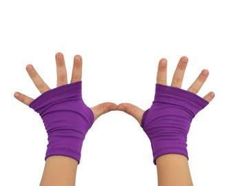 Toddler Arm Warmers in Purple Crocus - Cotton Fingerless Gloves