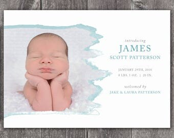 Brush Stroke - Digital or Printed Custom Baby Birth Announcement, any color