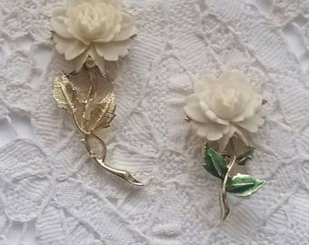 Vintage, Rose, Brooches, Lot of 2, Cream and Pale Yellow Color, Rose Pins, Gerry Brooch, Pin.