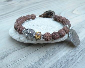 Gypsy Mala Bracelet - Buddha Bracelet, Prayer Beads, Rudraksha Mala, with Tribal Coin Charm, Handmade