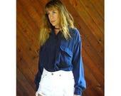 20% off SUMMER SALE. . . Deep Blue Silk l/s Button Down Blouse - Vintage 90s - L