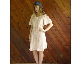 20% off SUMMER SALE. . . Pink Gingham Flutter Sleeve Mini Dress - Vintage 90s - M/L