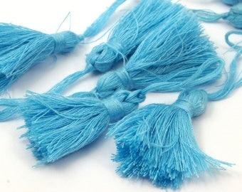 100 Pcs 35mm Cotton Blue Tassels