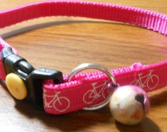 Bicycle Cat Collar, Kitten Collar, Breakaway Collar - girl cat, boy cat, cyclist