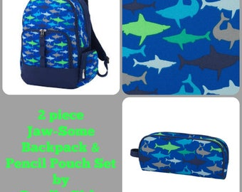 Jaw-Some Backpack and Pencil Pouch set. Boys monogrammed backpack and pencil pouch. BOYS backpack set. Back to School Bag Bag.
