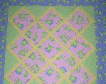 Pink and Purple Frogs Baby Quilt, Crib Quilt, Girl Quilt, Wall Hanging and Pillow Set