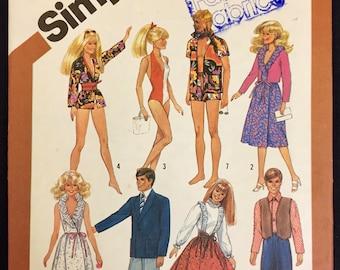 Vintage DOLL CLOTHES Sewing Pattern ~ Barbie Ken Brooke Shields GI Joe Dolls Wardrobe Simplicity 5807 Uncut