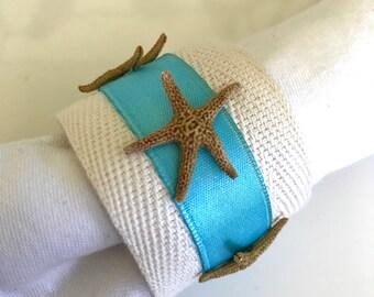 Brown Starfish Napkin Ring with Sea Blue trim- Beach Wedding - seashore - shells