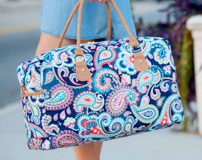 blue paisley duffel weekender bag totes canvas mermaid beach wedding bags bridesmaids birthday gift Outer Banks BeachHouseDreamsHome OBX
