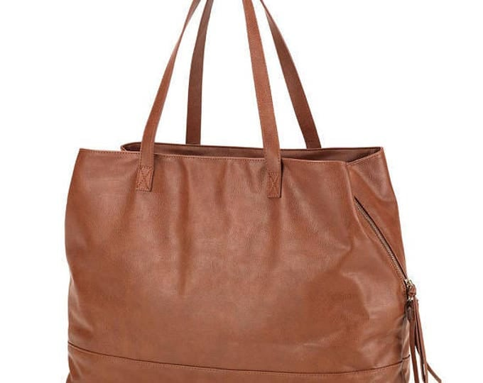Camel Vegan Leather Tote Bags Messenger Weekender Shoulder Bag Luggage Wedding Bridesmaids Holiday Birthday gift for her Outer Banks OBX
