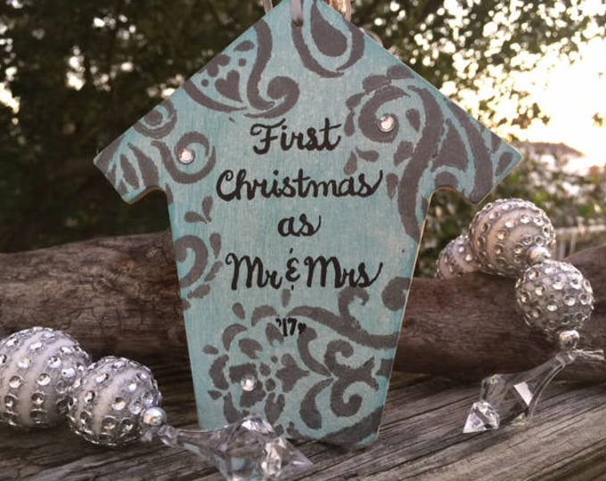 First Christmas Mr Mrs ornament blue silver paisley husband wife newlywed monogram OBX wedding bridal shower Outer Banks Beach House Dreams