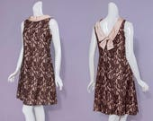 60s brown lace overlay, pink satin A-line party dress | size small