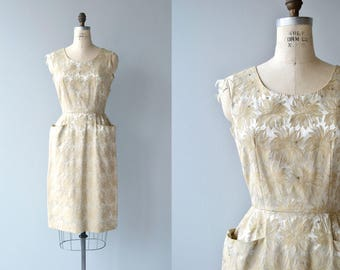 Gilded Fronds dress | vintage 1950s silk brocade dress | golden brocade 50s dress