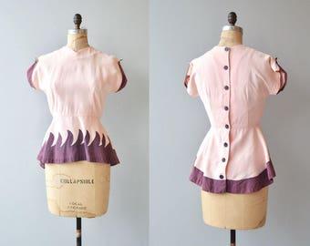 Doyenne blouse | vintage 1940s blouse | linen 40s blouse
