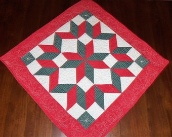 Quilted Wall Hanging, Square Table Runner, Holiday Christmas, Fabric Wall Art, Machine Quilted, Carpenters Square, 31x31 Inches