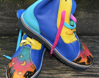Handmade Leather  hi-tops. OUR HOUSE.  Honda blue, Turq, Yellow and Blue.  Available and in stock NOW. size 8 1/2