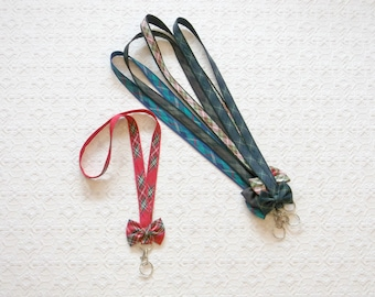 Preppy Tartan Plaid Ribbon Lanyard with Bow in 5 Colors