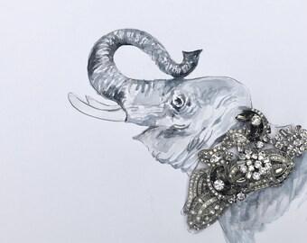 Silver Elephant: Mixed Media Photo Print