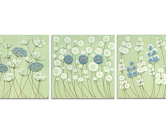 Large Flower Wall Art Set of Three Canvases - Green and Blue Textured Square Paintings - Extra Large 62x20