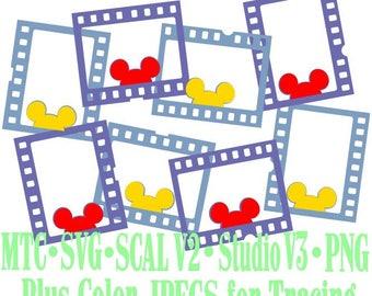 Filmstrip Frames Boy & Girl Mouse Head Design #07 Amusement Park Embellishments Cut Files MTC SVG SCAL and more File Format