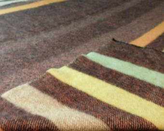 """Unique Vintage 50s 60s Wool Blanket Throw Orr Heather Pastel Stripes Mid Century Home Decor Bedding Camping 75""""x80"""""""