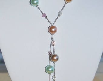 On sale Pretty Vintage Multi Colored Faux Pearl Lariat Necklace