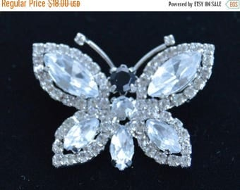 ON SALE Pretty Vintage Clear, Black Rhinestone Butterfly Brooch, Pendant (AE7)