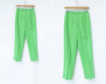 60s Cigarette Pants 1960s Green Trouser Lime Green Pants High Waisted Pants 1960s Pinup Slacks 1960s Trouser Crease Front Kelly Green xs