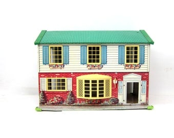 Large Vintage 1950s Tin Lithograph Dollhouse 2 Story Doll House Colorful Toy House GS Wolverine