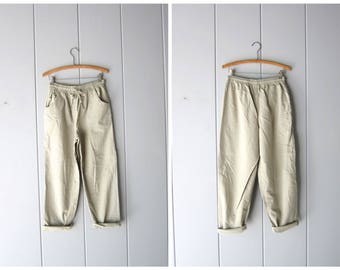 Pale Green Drawstring Pants 90s Elastic Waist Thin Cotton Pants Minimal MOM Trousers Pockets Vintage Casual Summer Pants Womens Small Medium