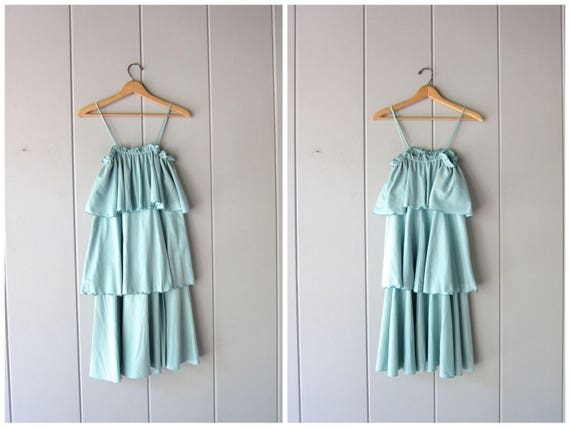 Vintage 80s Tiered Dress Teal Green Blue Pastel Summer Slip Dress Flirty Sundress Ruffled Tiered SunDress Strapless Party Dress Womens M - L