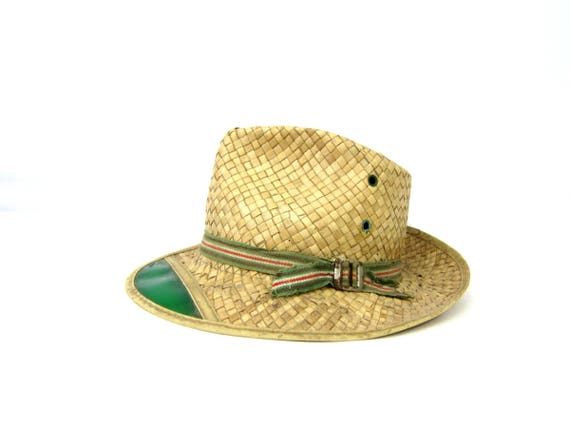 1970s Vintage Brim Straw Hat with Green Visor Gardening Straw Hat Woven Boho Summer Hat Natural Straw Tractor Hat Unisex Size Small