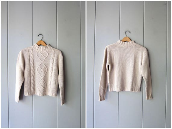Cropped Knit Sweater Linen Cotton Textured Sweater Top Minimal Off White 90s 80s Preppy Crop Knit Mock Neck Top Sweater Womens Small