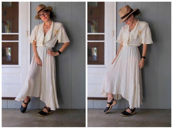 White Gauze Dress Long White Slip Dress 70s Vintage Dress Boho Grecian Dress Thin Sheer 70s Gypsy Boho Maxi Dress Womens Medium Large