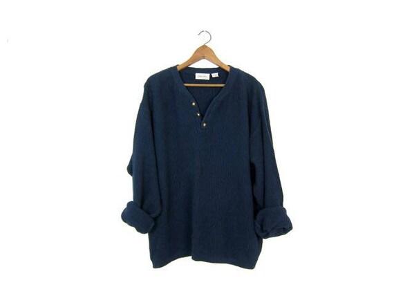 Oversized Dark Blue Sweater Button Up Henley Sweater Slouchy Boyfriend Pullover Textured Nubby Cotton Knit Thermal Shirt Sweater Men's XL