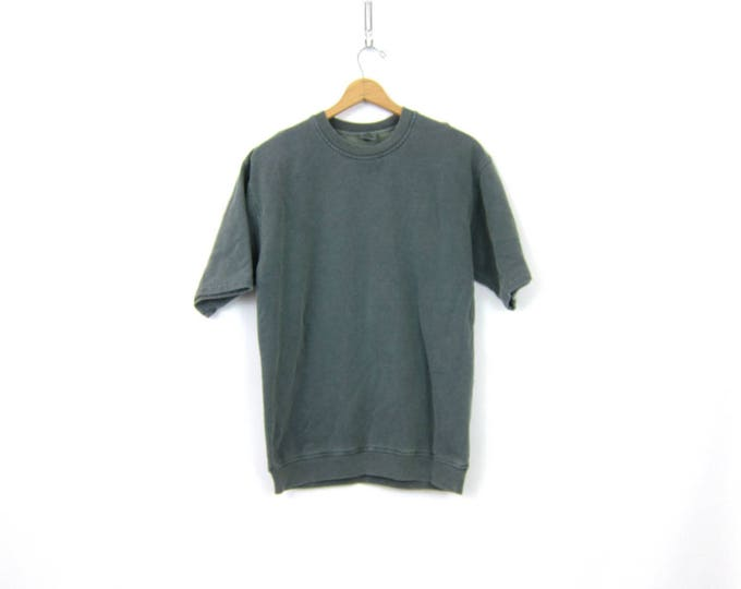 Pigment Dyed Cotton Sweatshirt Gray Green  Overdyed Vintage 90s Sweatshirt Short Sleeve Thermal Pullover Women's Size Medium