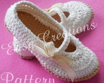 CROCHET PATTERN Mary Jane Slippers Adult Teen Star Stitch Shoes Ladies Lady Women Woman Girl Girls skill level intermediate