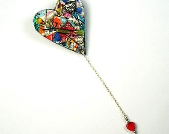 MM Brooch #24- handmade mixed media, heart shaped brooch with chain and heart charm