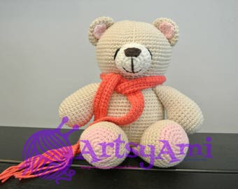 Handmade Crochet Amigurumi - Tan/pink bear with scarf (fushia & purple)