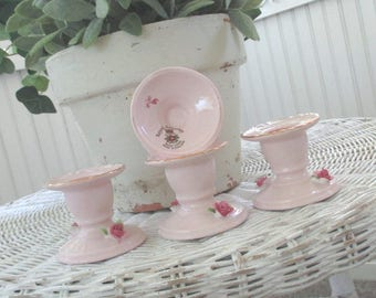 Vintage Candlestick Holders * Royal Adderley * Made in England * Pink Roses * Shabby Chic