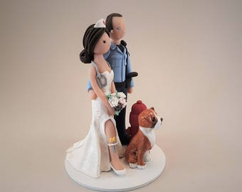 police officer and nurse wedding cake topper custom cake toppers by mudcards on etsy 18671