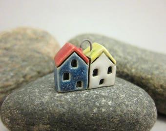 Little Neighbors...Stoneware Pendant...Blue & White