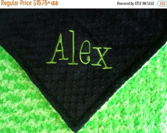 SALE Lime Green and Black Minky Baby Blanket, Kiwi Rose Swirl Baby Blanket in three sizes Can Be Personalized