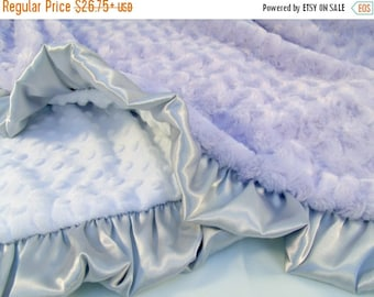 SALE Lavender Gray and White Minky Baby Blanket Can Be Personalized