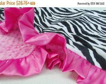 SALE Pink Zebra Minky Blanket - Minky Baby Blanket Can Be Personalized